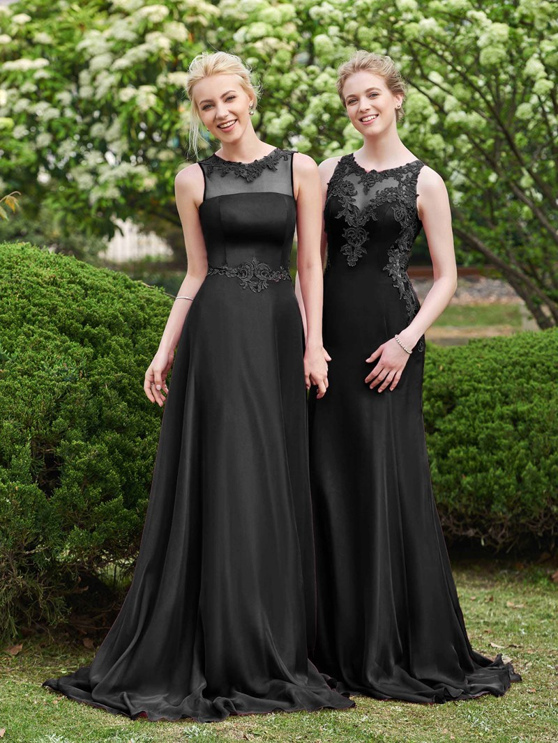 Ericdress Illusion Neckline Appliques Long Bridesmaid Dress