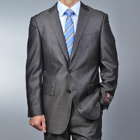 2 Button Metallic Grey Suit Mens Cheap
