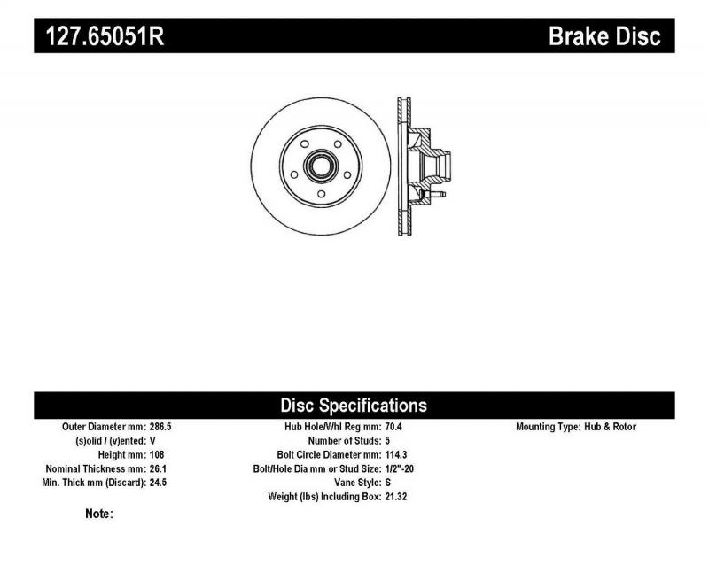 StopTech 127.65051R Sport Drilled/Slotted Brake Rotor; Front Right Front Right