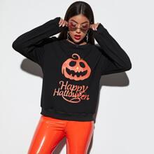 Sweatshirt mit Halloween Kuerbis Muster
