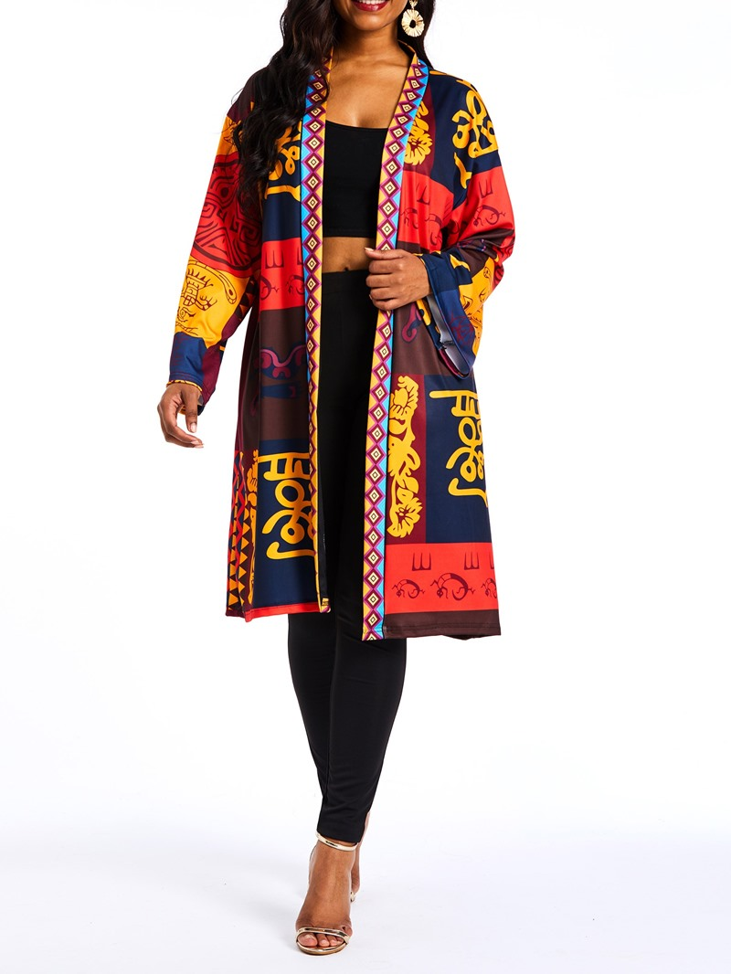 Ericdress Long Print Regular Winter Trench Coat