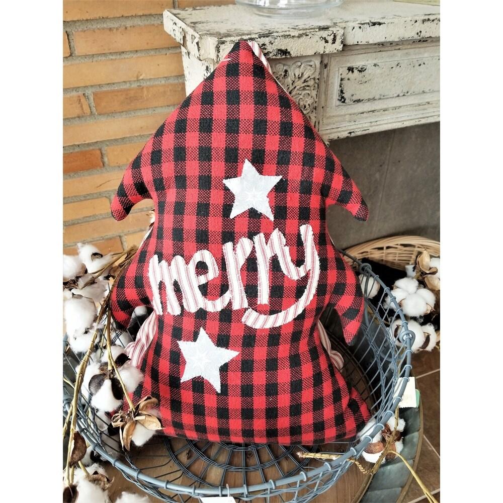 Merry - Plaid Fabric Tree Pillow (Plaid)