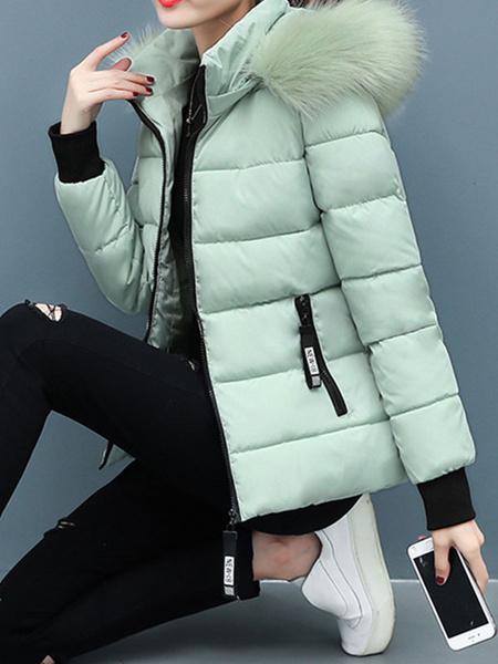 Milanoo Abrigos acolchados para mujer Rosa con capucha Manga larga Ropa de abrigo informal de invierno