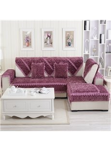 Delicate Purple Thicken Beautiful Roses Flannel Print Design Cushion Slip Resistant Sofa Covers