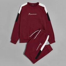 Pullover mit Kontrast Ziernaht und Jogginghose Set