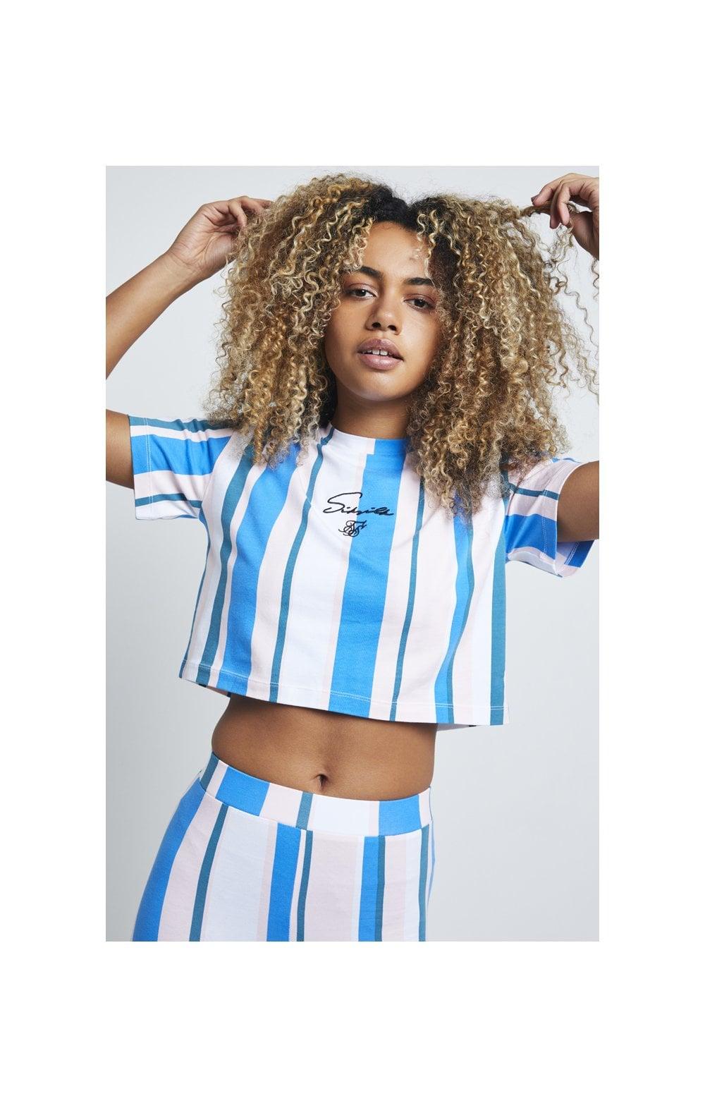 SikSilk 90's Stripe Crop T-Shirt  Rotary Stripe WOMEN SIZES: 6-XX