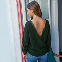 V-cut Back Lace Trim Batwing Sleeve Sweater