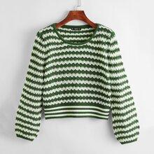 Zweifarbiger Strick Crop Pullover