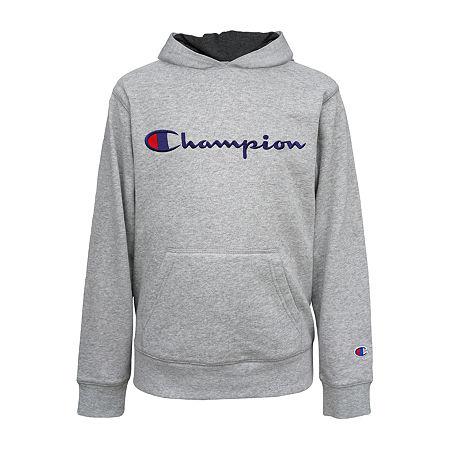 Champion Fleece Big Boys Embroidered Hoodie, X-large (18-20) , Gray