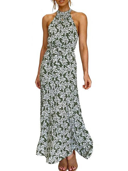 Milanoo Maxi Dress Sleeveless Black Floral Print Bohemian Vacation Dress