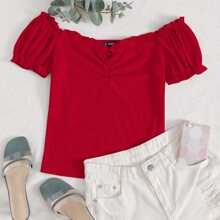Ruched Front Frill Trim Off Shoulder Tee