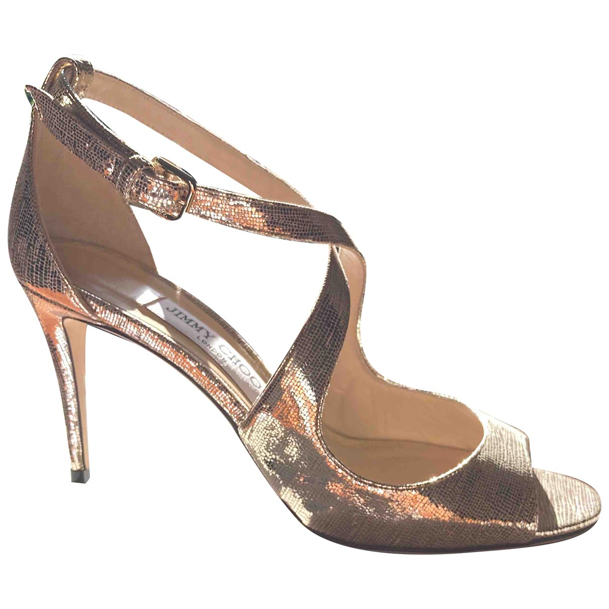 Jimmy Choo Emily Gold Leather Sandals for Women 39 EU