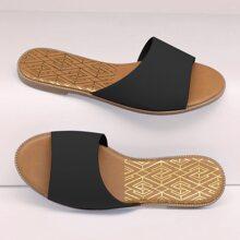 Faux Leather Curved Vamp Slide Sandals