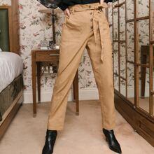 Paperbag Waist Buttoned Waist Pants