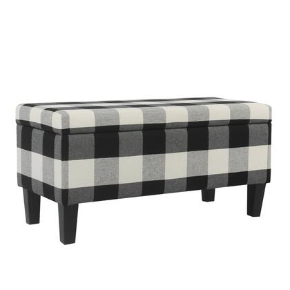 BM195794 Checkered Pattern Fabric Upholstered Storage Bench With Tapered Wood Legs  Large  Black and