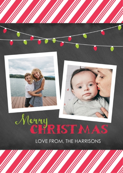 Christmas Photo Cards 5x7 Cards, Premium Cardstock 120lb with Elegant Corners, Card & Stationery -Christmas Stripes