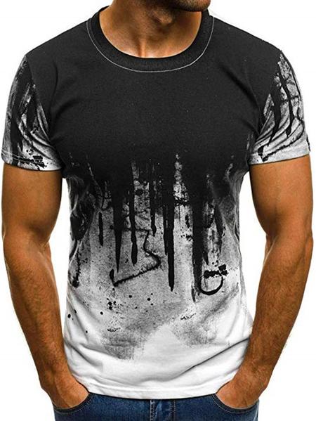 Yoins Men Fashion Sports Fitness Tie Dye Short Sleeved T-Shirt