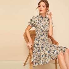 Frill Neck Button Up Flounce Hem Floral Tea Dress