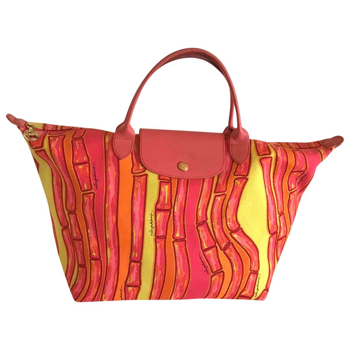 Longchamp - Sac a main Roseau pour femme en toile - rose