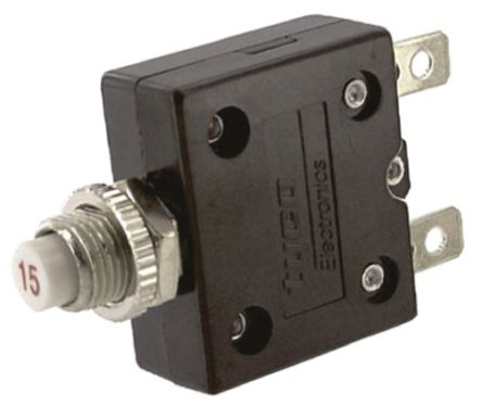 TE Connectivity W54 Single Pole Thermal Magnetic Circuit Breaker - 250V ac Voltage Rating, 15A Current Rating