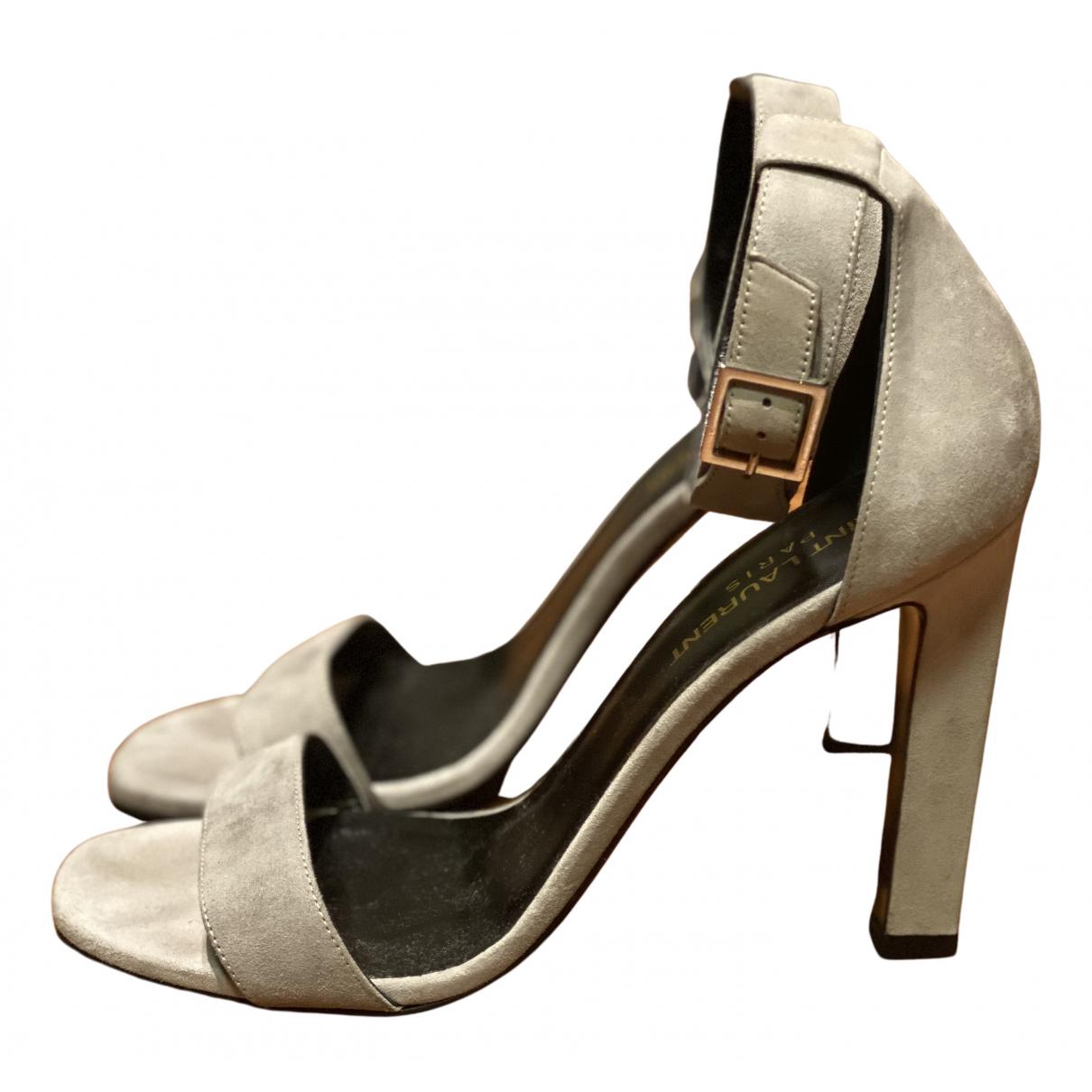 Saint Laurent - Sandales   pour femme en suede - gris