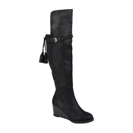 Journee Collection Womens Jezebel Wedge Heel Over the Knee Boots, 7 1/2 Medium, Black