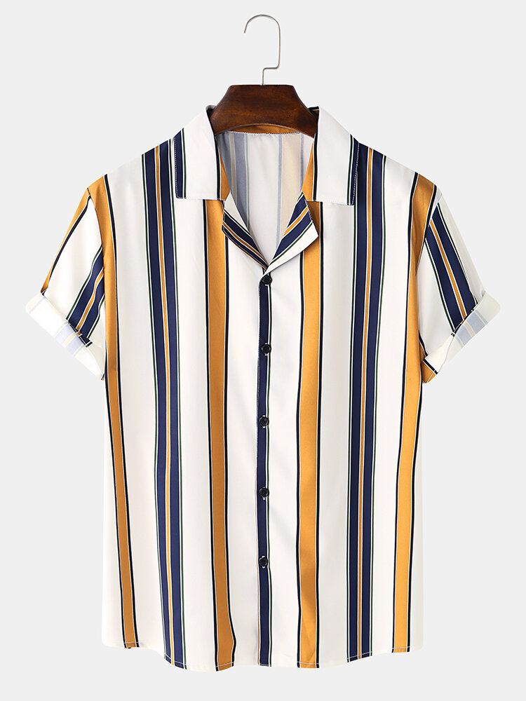 Mens Basic Striped Short Sleeve Casual Turn Down Collar Shirts