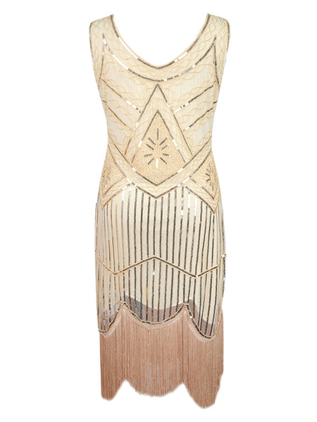 Milanoo 1920s Fashion Style Outfits Great Gatsby Charleston Dresses Two Tone Women's Vanilla Cream Sequined Flapper Dress 20s Party Dress Halloween
