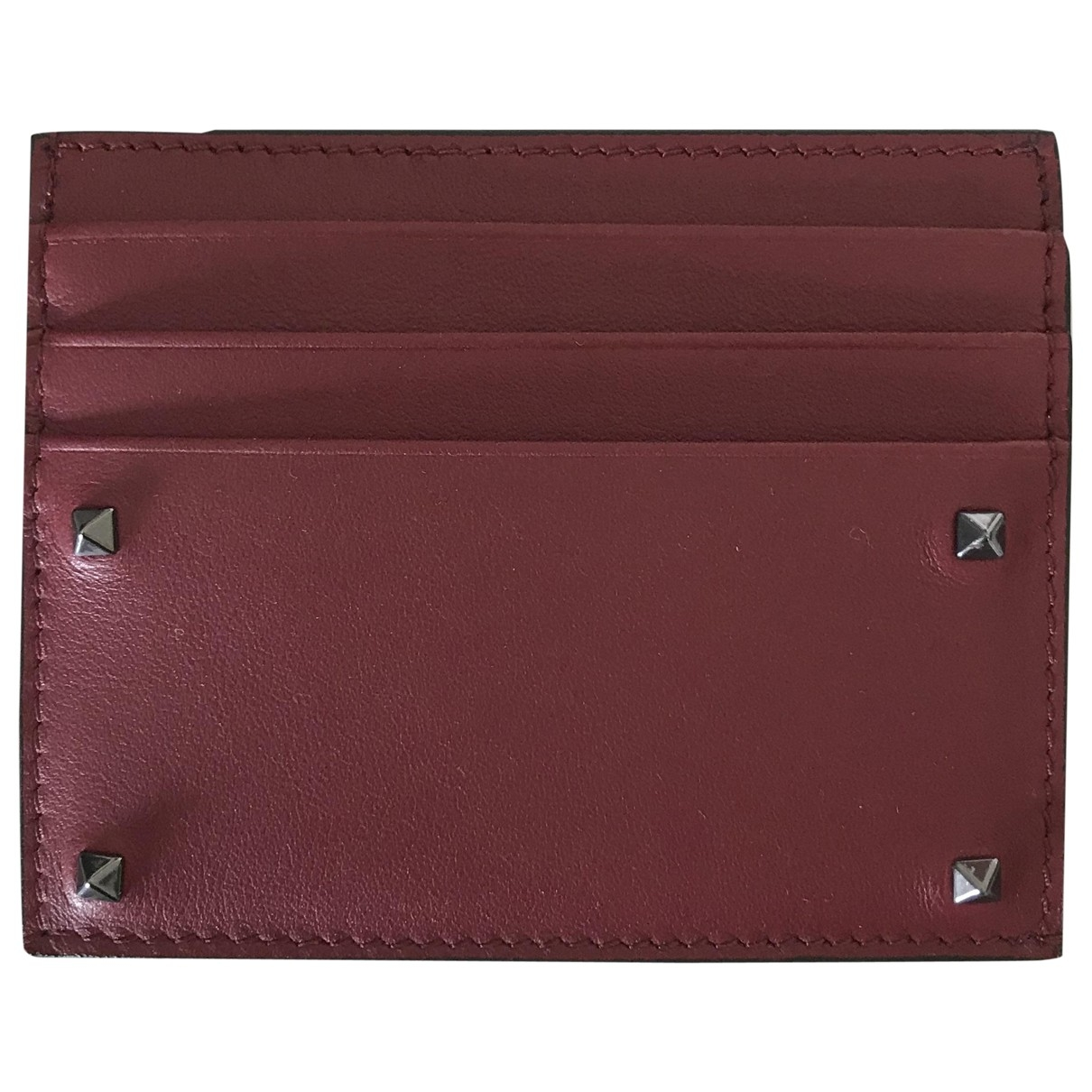 Valentino Garavani \N Burgundy Leather Small bag, wallet & cases for Men \N