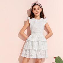 Girls Ruffle Armhole Schiffy Top & Layered Skirt Set