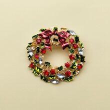 Brosche mit Weihnachten Kranz Design