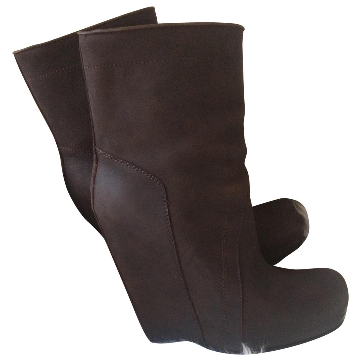 Rick Owens - Bottes   pour femme en cuir - marron