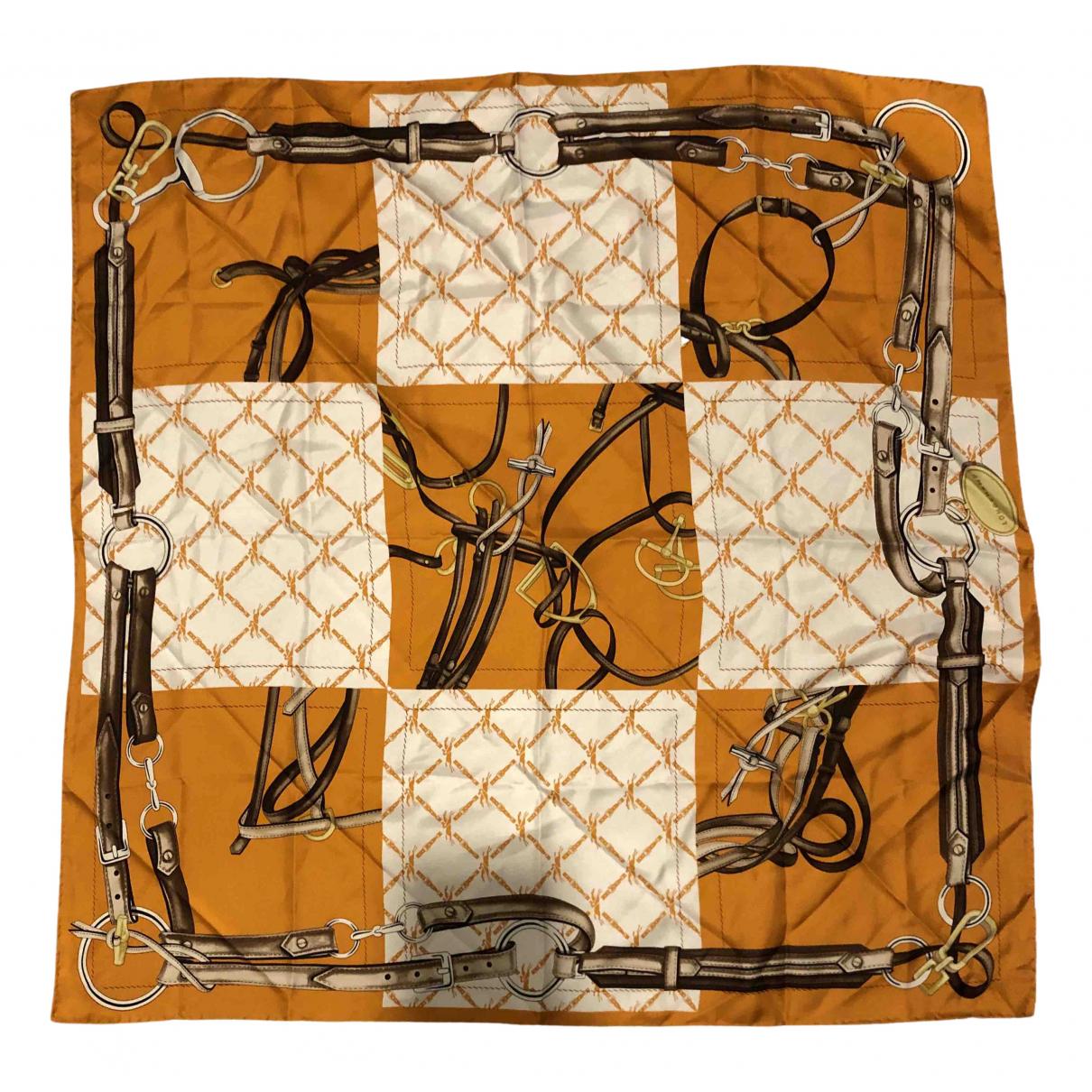 Longchamp - Foulard   pour femme en soie - orange