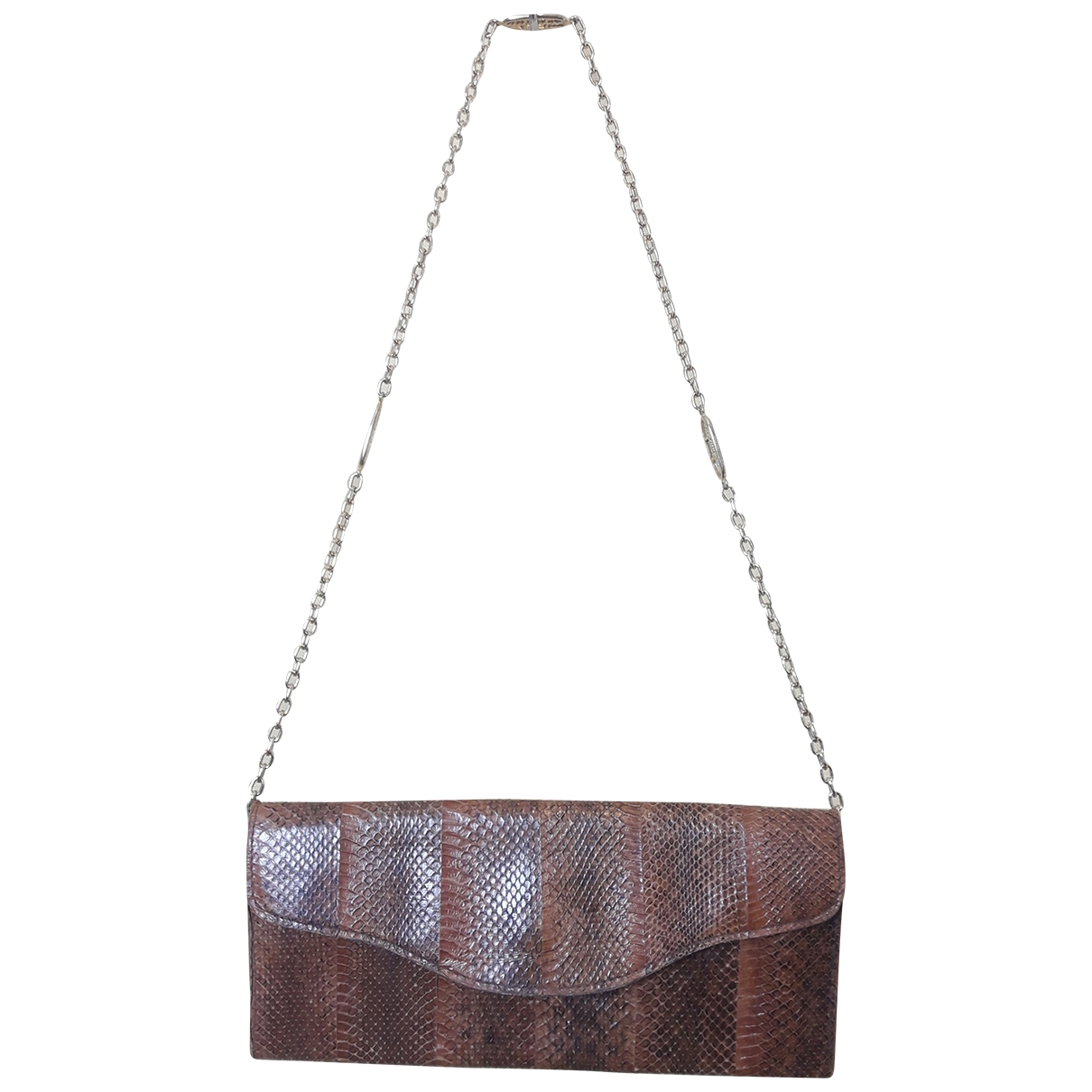 Non Signé / Unsigned \N Brown Python Clutch bag for Women \N