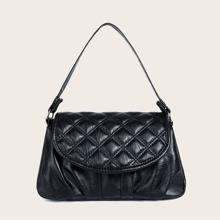 Quilted Flap Ruched Baguette Bag