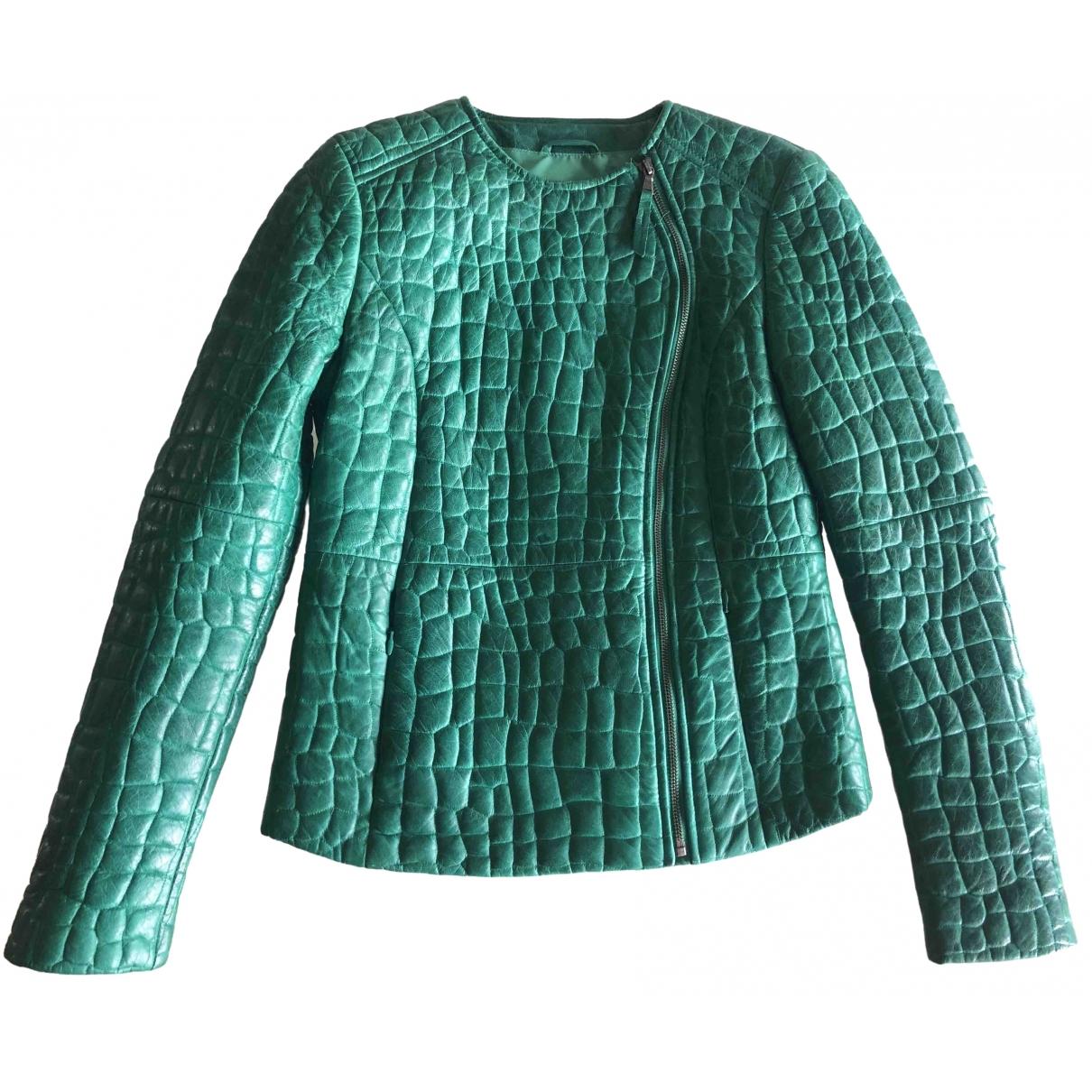 - Blouson   pour femme en cuir - vert