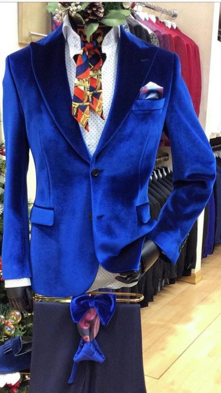 Men's Alberto Nardoni Mens Royal Blue Velvet Blazer Style 139
