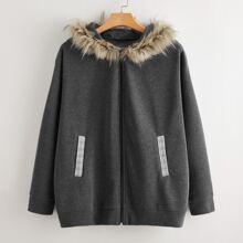 Mantel mit Kunstpelz, Kapuze und Reissverschluss