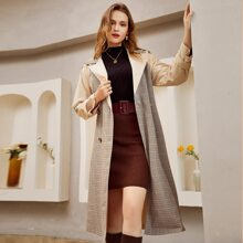 Double Button Belted Plaid Spliced Trench Coat