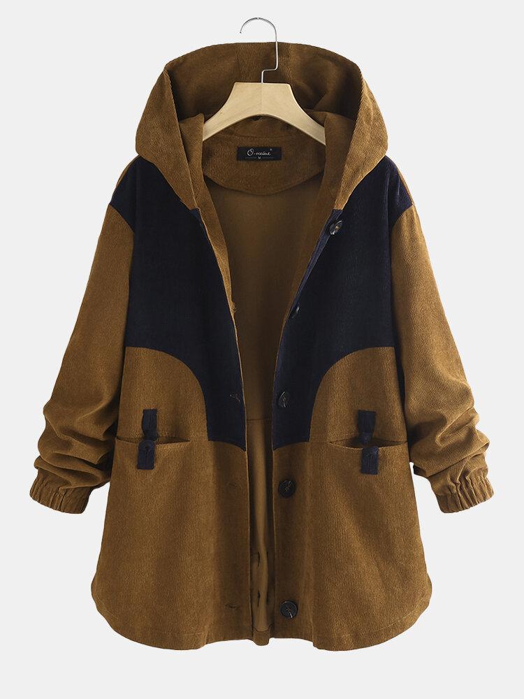 Corduroy Patchwork Frog Button Plus Size Women Winter Jackets