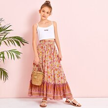 Girls Paperbag Waist Tribal and Floral Skirt