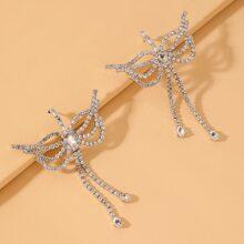 Rhinestone Butterfly Decor Drop Earrings