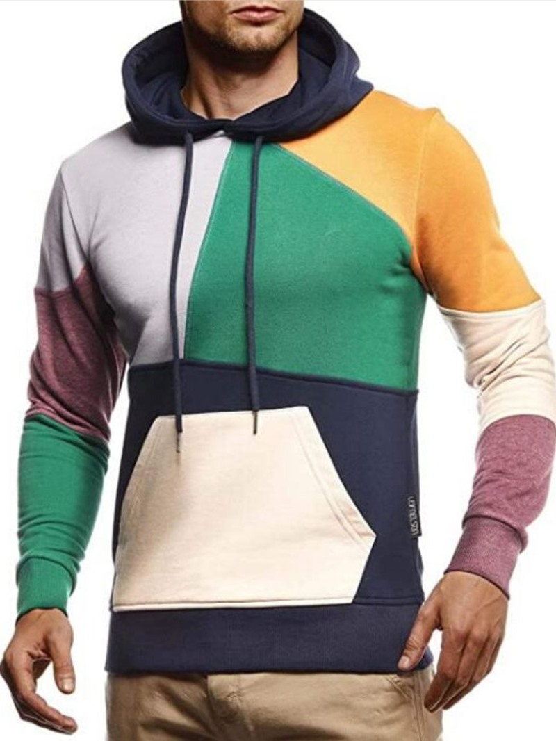 Ericdress Pullover Color Block Patchwork Pullover Fall Hoodies