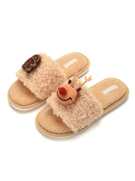Milanoo Boa Slippers Pink Knitting Wool Upper Closed Toe Christmas Indoor Home Slippers Shoes