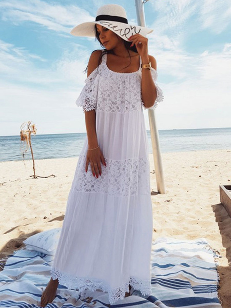 Milanoo White Boho Dress Women Maxi Dress Lace Half Sleeve Cold Shoulder Beach Dress