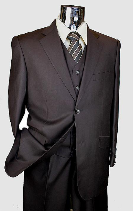 Mens Brown 3 Piece 2 Button Suit with Vest and Single Pleated Pants