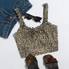 Top de leopardo con nudo delantero ribete en forma de lechuga