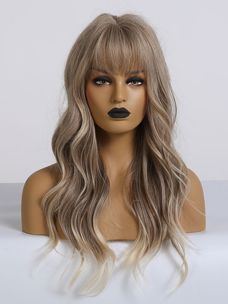Milanoo Women Long Wig Light Brown Curly Rayon Elegant Tousled Long Synthetic Wigs