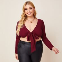 Plus Tie Front Rib-knit Solid Crop Top