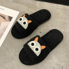 Cartoon Fluffy Open Toe Slippers